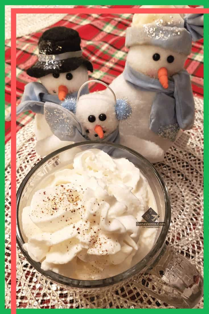 Simple Holiday Eggnog topped with whipped cream