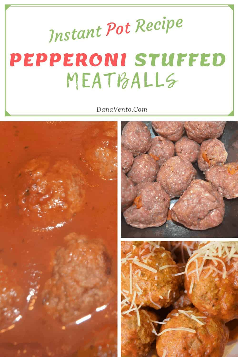Pepperoni Stuffed Meatballs in stages