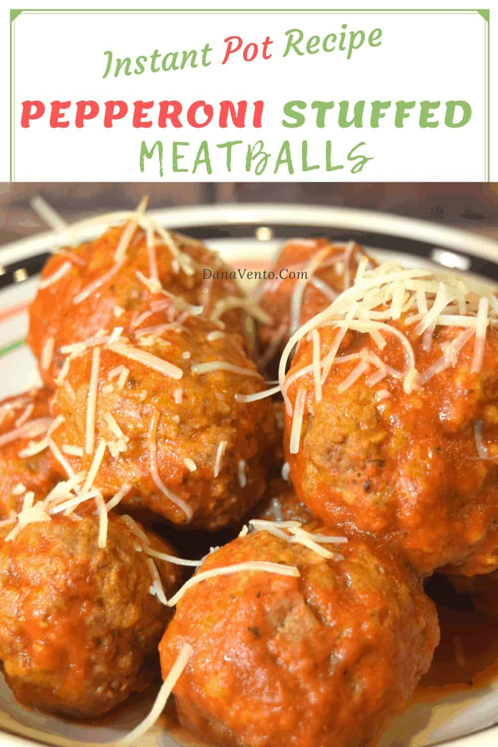 Pepperoni Stuffed Meatball up close with cheese for serving