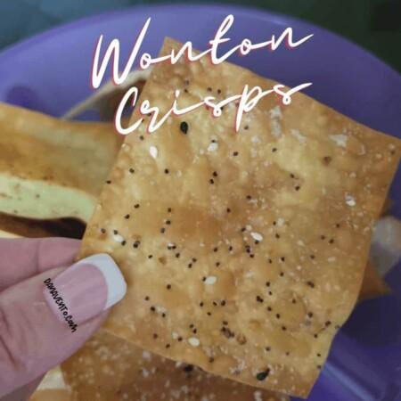 wonton crisps in finger