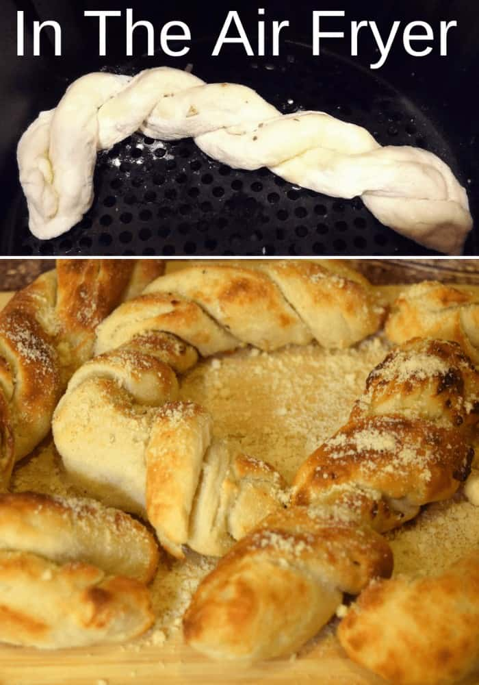 Collage with raw braided bread at top and cooked braided bread at bottom