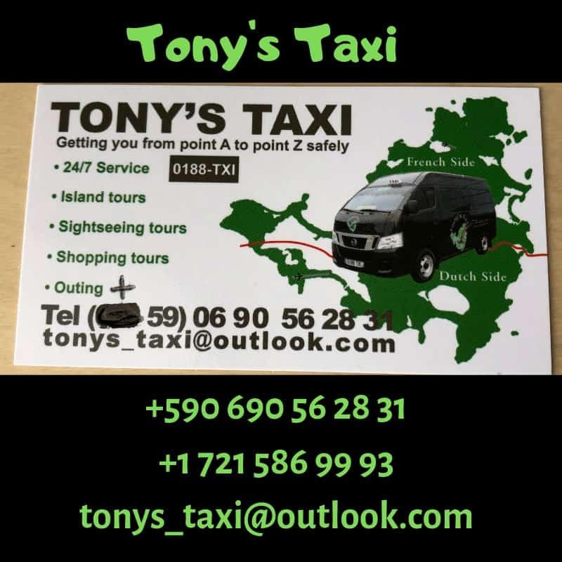 Tony's Taxi business card