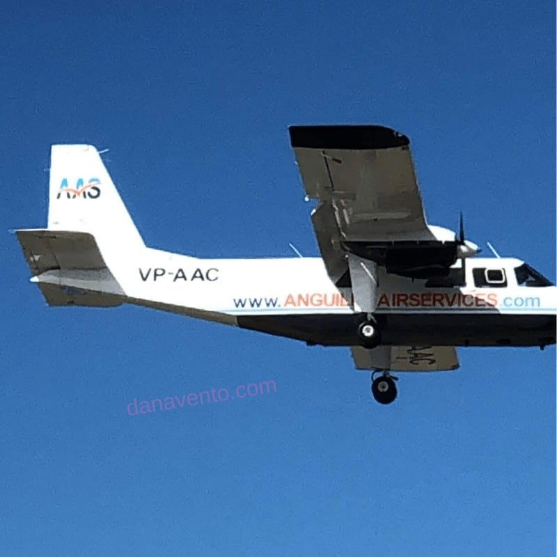 Anguilla island hopper plane heading into St. Maarten