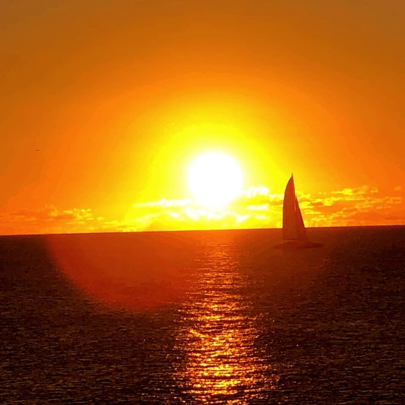 sailboat in the sunset in St. Maarten