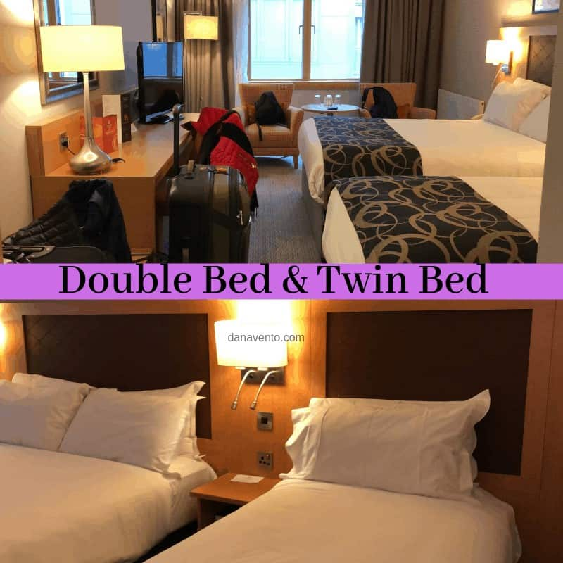 Hotel in Dublin Ireland inside of the room. a Double bed and a twin bed