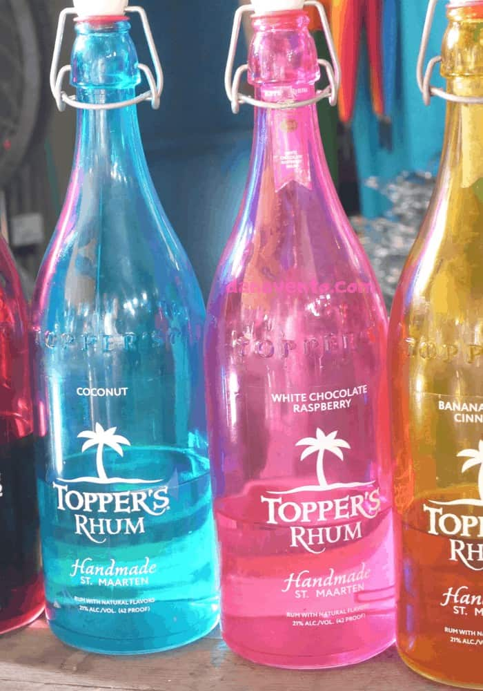 Colorful Topper's Rhum Bottles of Rum at Saint Martin Distillery