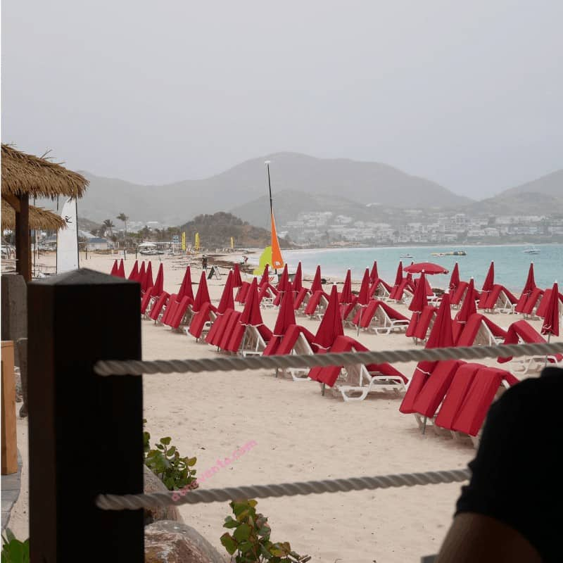Chic Beachside Dining At Orient Bay in Saint Martin, Saint Martin, Food, Where to Eat, French Side, Not The Dutch Side, Kontiki, Orient Beach, Beach, Pictures of Orient Beach, Food at Kontiki, Vegetarian, Meat, Tapas, Upscale, Chic, Luxury, Spendy, Renovated, Restored, Topless, Clothing Optional, Red Umbrellas, Clean Beach, eat, drink, French Food, International Food, After Hurrican Irma