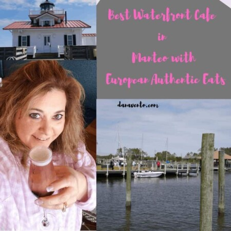 Best Waterfront Cafe in Manteo With European Authentic Eats. Manteo, OBX, Outer Banks, North Carolina, NC, OBX NC, Travel, Out, Roanoke Marshes Landing, Roanoke Marshes Lighthouse, piers, boardwalks, quaint town, walkable, visit for the day, lunches, dinner, eateries, dining on the waterfront, European Cafe, French and Italian, Fresh made food, vegetarian options, hand crafted, clean, large windows, drinks, alcohol, water, potato salad, things to eat, large menu, diversified menu, pick up to go, shop, eat, repeat.