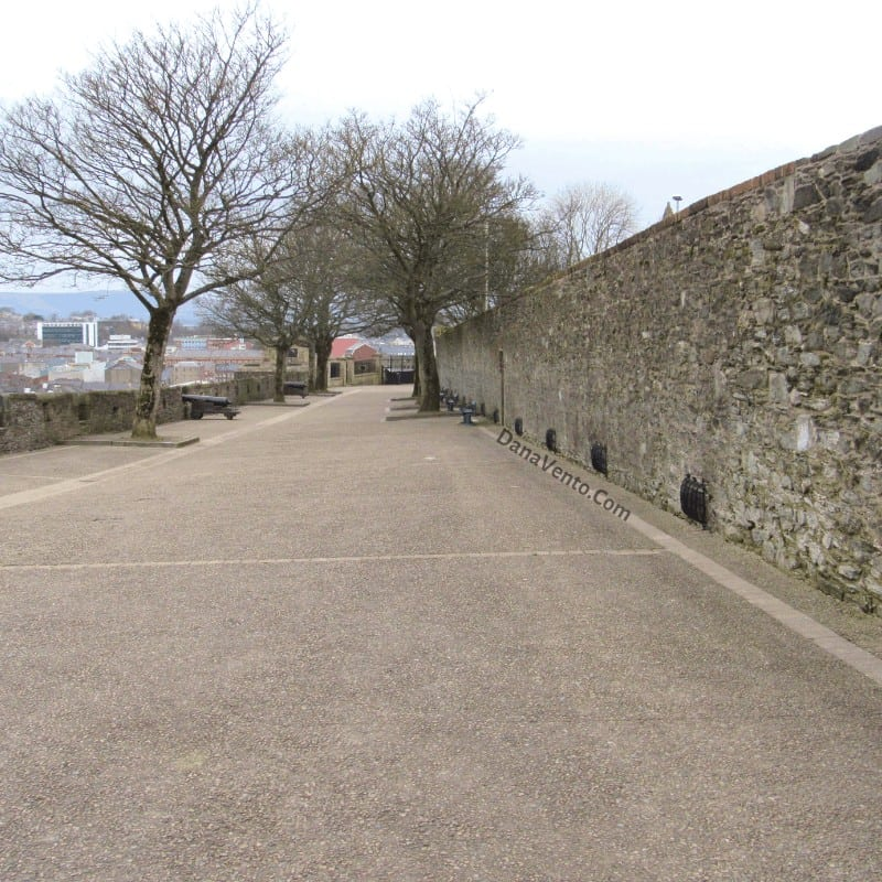 Walls of Derry Lined with trees and cannons