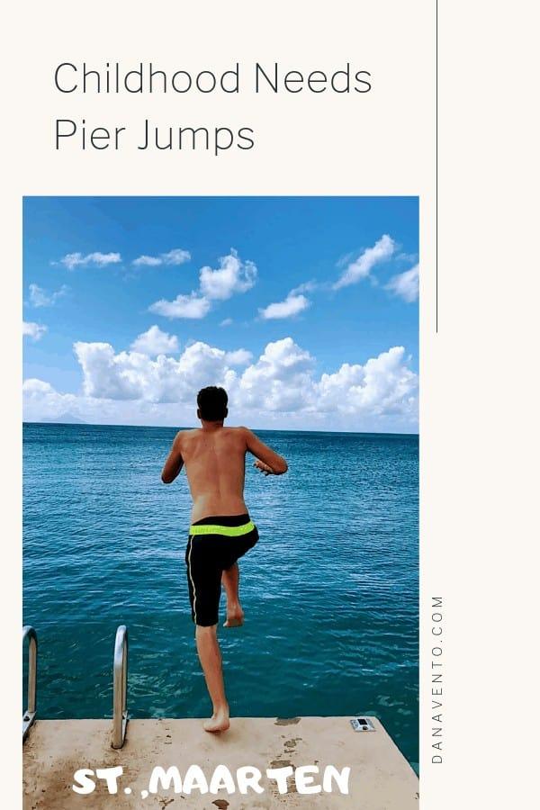 Pier jumping at Divi Little bay beach resort