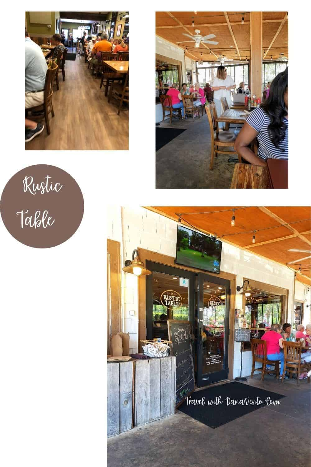 Inside and exterior of the Rustic Table on Pawleys Island