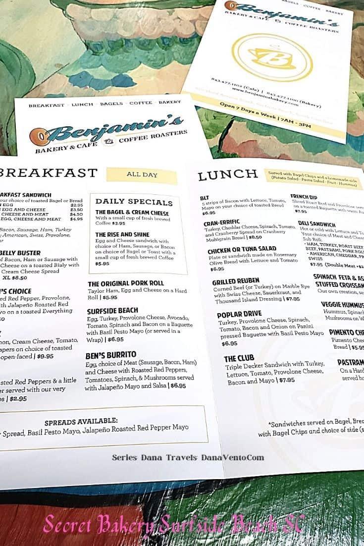menus for Benjamins Bakery