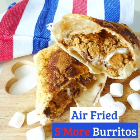 Air Fried S'more Burritos stacked and open