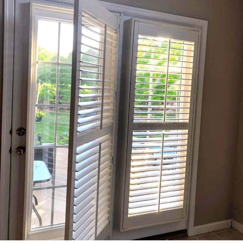 The Secret to French Door DIY Window Treatments That You Have Been Searching For, Fauxwood, Shutters, Plantation Shutters, Indoor, French Doors, Installatation. DIY Shutter Installaion, Doorstep, Shop online, Fauxwood Faux Wood, window treatments, fast, easy, simple, perfect, back doors, easy to clean