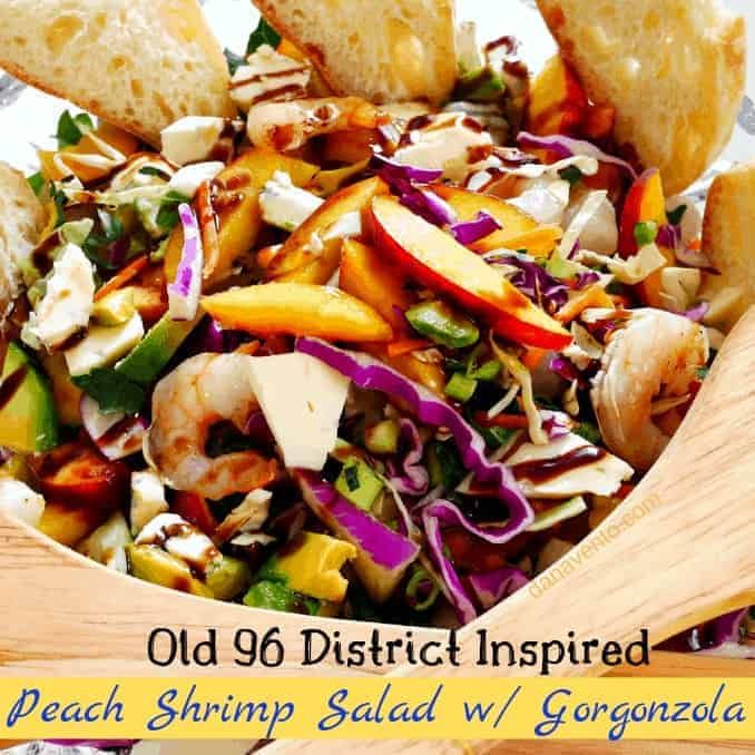 Old 96 District Inspired Peach Shrimp Salad w/ Gorgonzola, South Carolina, Inspired, SC, Old 96 District, Food, Peaches, Recipe, Fast, Easy, Shrimp, Salad, Summer Recipe, Gorgonzola, traveling, travel inspired culinary, peaches, peach, cut peaches, sliced peaches, barrels of peaches, buckets of peaches, southern culinary recipe, southern inspired, good eats, simple to recreate, recipe