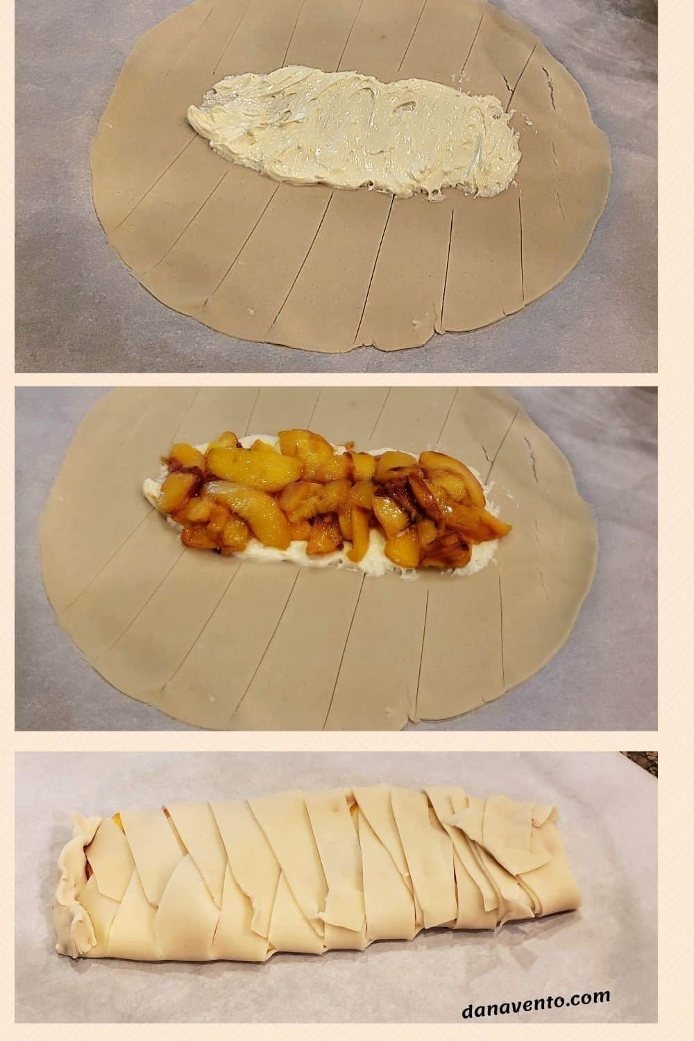 Almond Peach Danish In Process With Pastry Hack