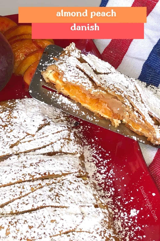 Almond peach danish on spatula