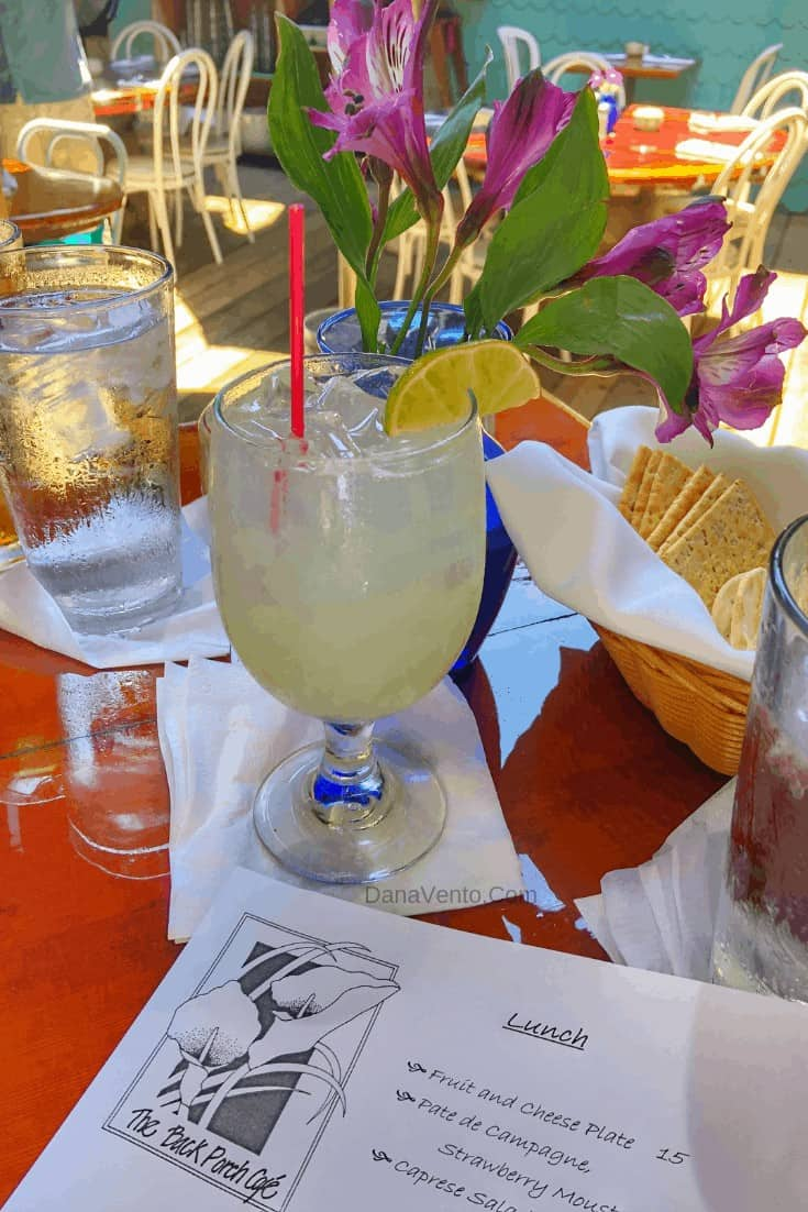 Southern Delaware Beach Town eats at the Back Porch Cafe great drinks