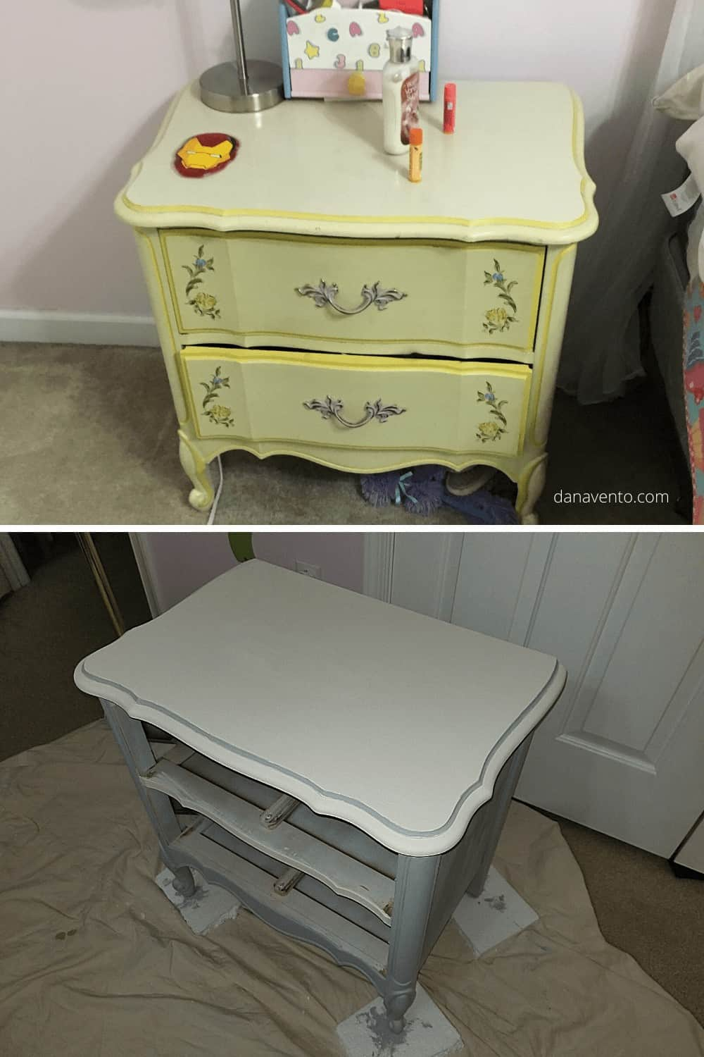 before and during chalk paint working
