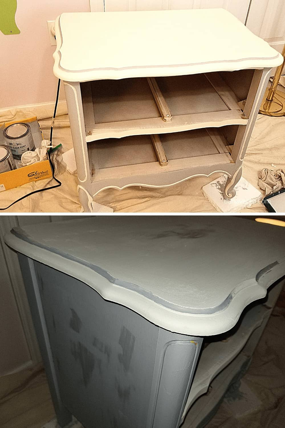 chalk painting furniture in process