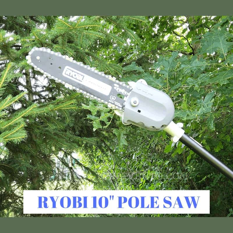 Easily Cut and Prune Trees Without Leaving the Ground, prune, nip, cut, no ladder required, recharge, battery, 40V, Lithium Ion, Yard, DIY, Cleanup, Fix Up, Outdoor work, Yard work, Pole Saw, finish, work outside, cleanup outdoors, yard word never ends, RYOBI tools