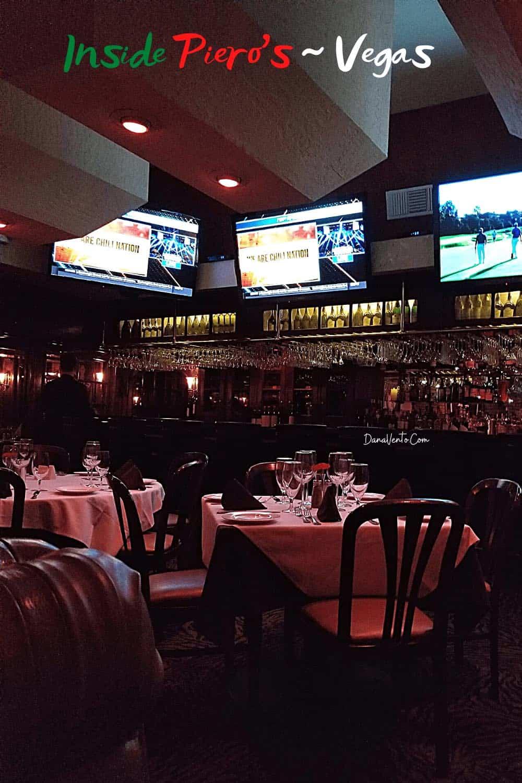 Inside Pieros Vegas old school Italian Dining Room and Bar