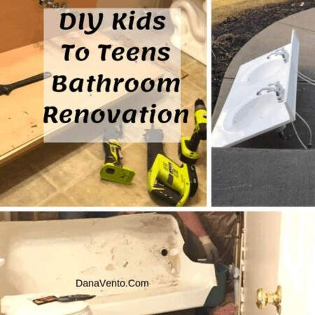 DIY Kids To Teens Bathroom Renovation, bathroom, toilet, floor, lighting, sconce, vanity, sinks, undermount, faucets, hardware, touchless toilet, tank, showerhead, whirlpool tub, flooring, sliding glass doors, cabinets, no full mirror, medicine cabinets, controls, drawers, teens, adults, no kid, walls, selving, old, new, renovation, interior, DIY, lighing, electrical, plumbing, walls