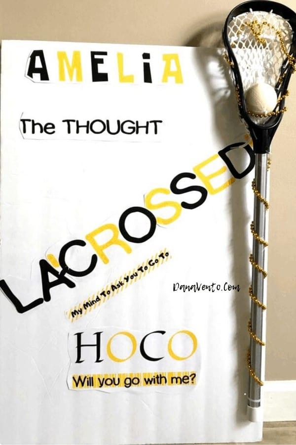 DIY Lacrosse Homecoming Proposal Sign with lacrosse stick attached