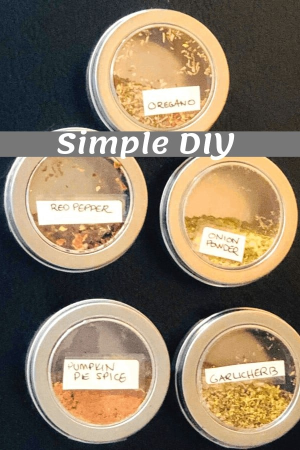 DIY Magnetic Spice Containers For Your Refrigerator with multiple spices in them