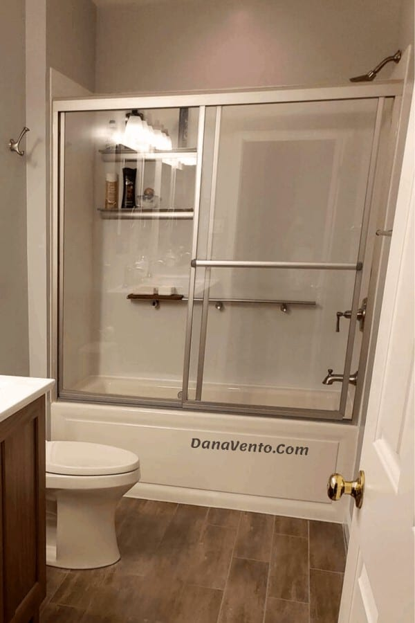 DIY Kids To Teens Bathroom Renovation, bathroom, toilet, floor, lighting, sconce, vanity, sinks, undermount, faucets, hardware, touchless toilet, tank, showerhead, whirlpool tub, flooring, sliding glass doors, cabinets, no full mirror, medicine cabinets, controls, drawers, teens, adults, no kid, walls, selving, old, new, renovation, interior, DIY, lighing, electrical, plumbing, walls