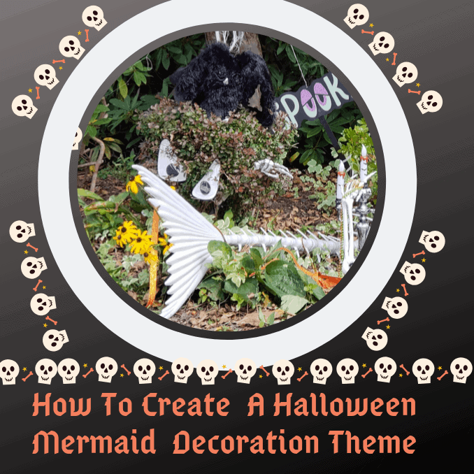 Halloween Mermaid Decoration Theme, spooky eyes, mermaid skeleton, hanging pumpkin, candleabra, treasure chest, spier, spider web, cobwebbing, outdoors, mask, sword to heart, story, Mermadi theme, Halloween Idea, Halloween Yard Decor, Where To Find, What To Do, DIY Outdoor Halloween Theme, Oriental Trading Company