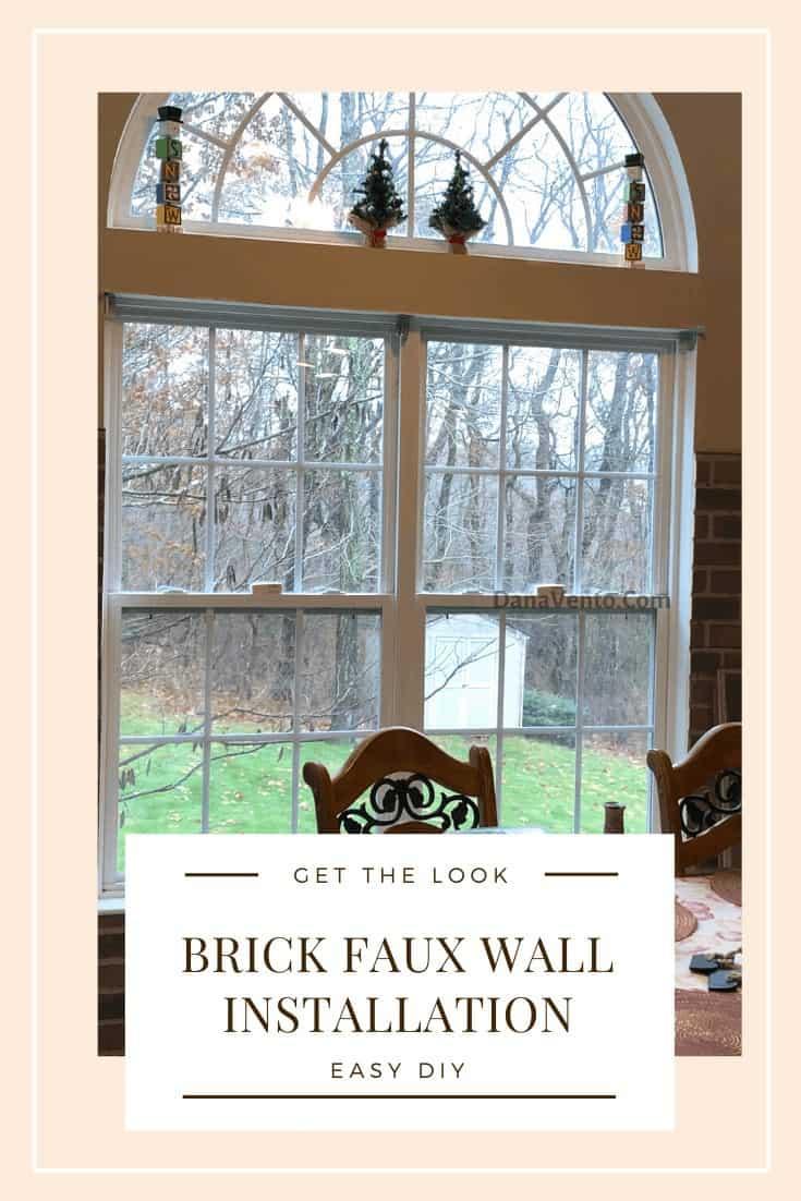 DIY Interlocking Rustic Brick Faux Wall Installation around rounded windows