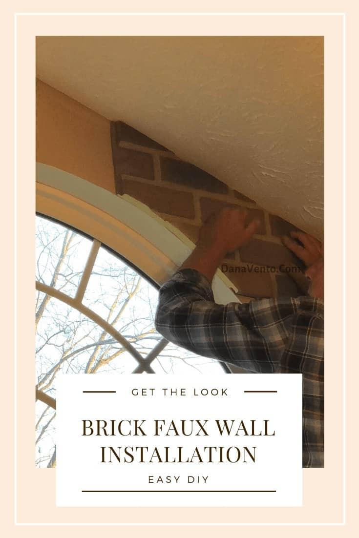 DIY Interlocking Rustic Brick Faux Wall Installation, panels working around the window