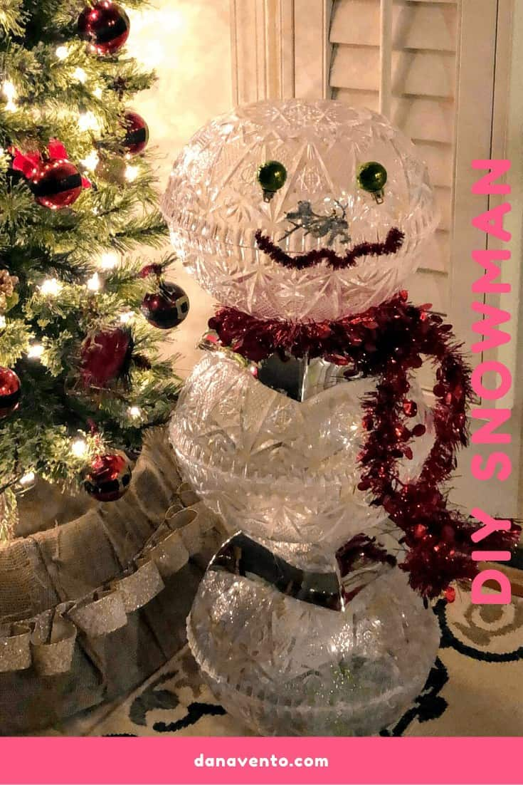 Easy To Make DIY Snowman With Dollar Tree Products, Snowman, Crystal, Faux Crystal, Acrylic Cut Crystal Bowls, Dollar Tree, Dollar Tree Products, How To, DIY, Snowman decorations, decor, scarf, sparkle, shine, lighting, home decor, pretty, face, twisties, scissors, crafting, holiday crafting, diy, holiday diy, holiday snowman, bulbs, garland, happy, around the house, weighted down, outdoor, indoor, try this, Dana Vento DIY