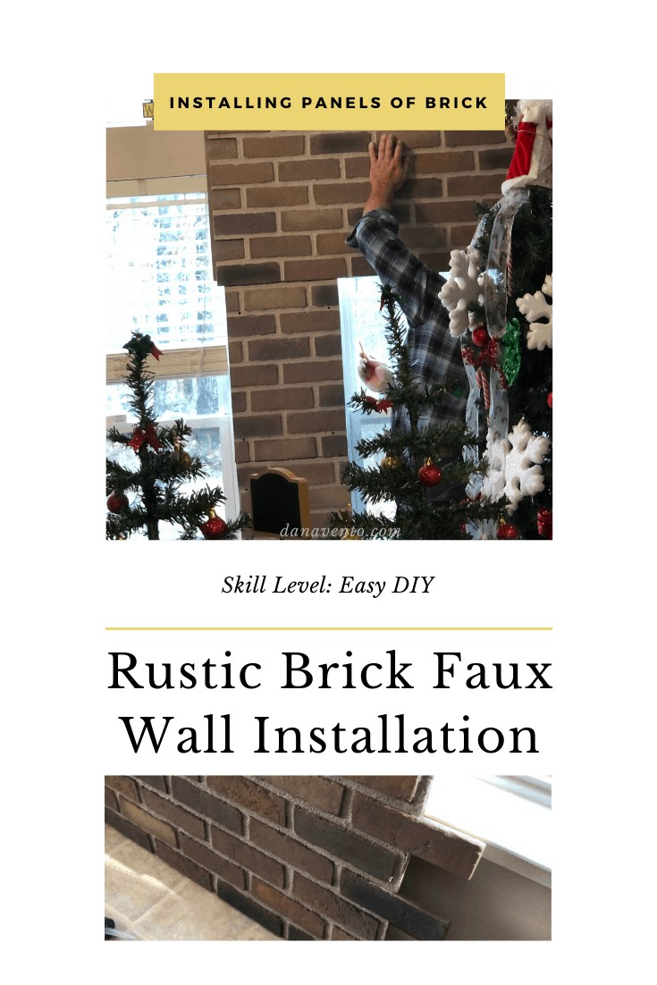 Faux Brick wall being put together on large wall