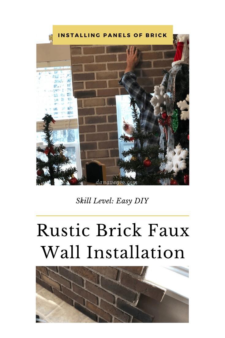 DIY Interlocking Rustic Brick Faux Wall Installation panel by panel