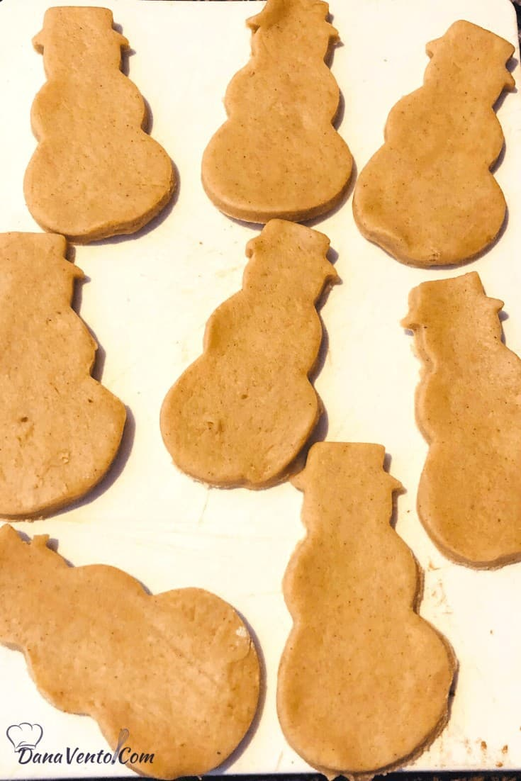 air fryer snowmen cut from cookie cutter