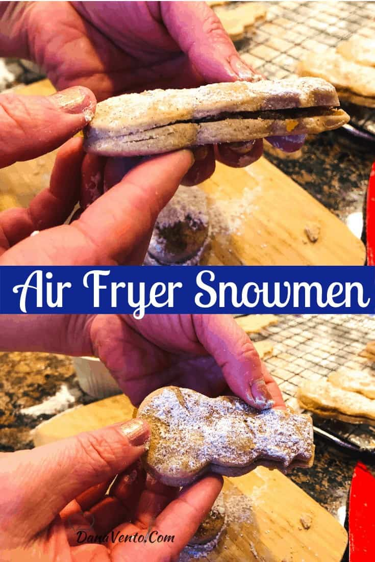 Air Fryer Snowmen from side and top