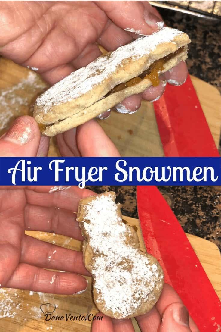 Air Fryer Snowmen filled from side