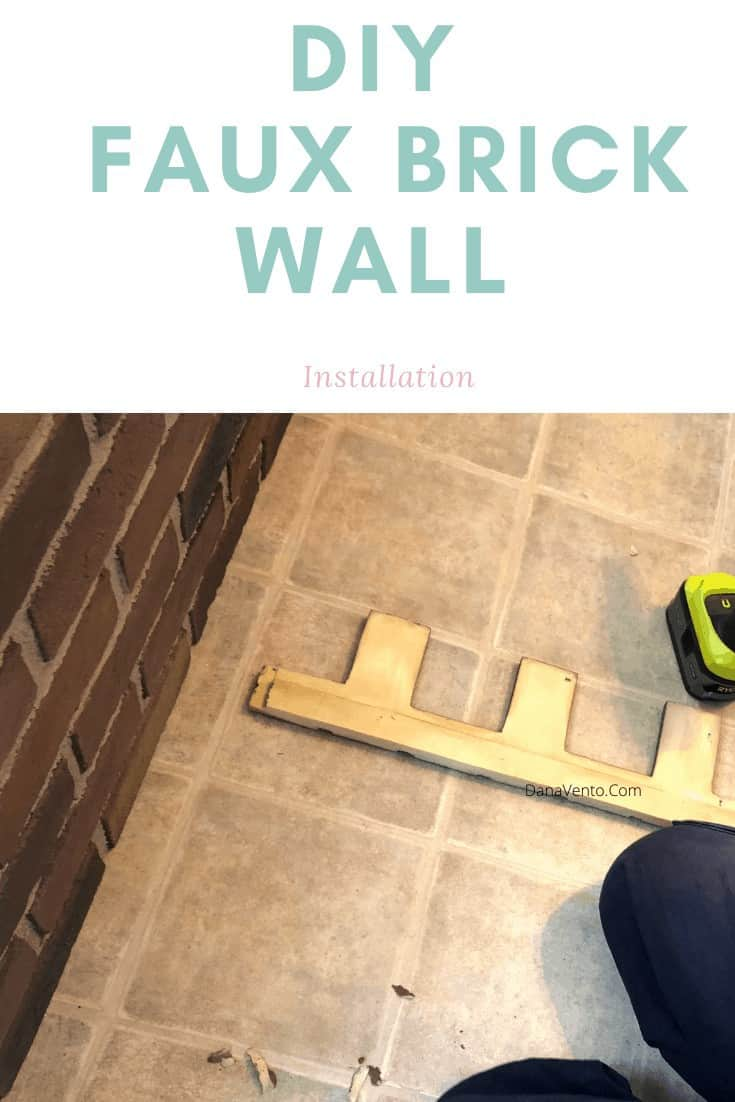 Gluing the panel onto the faux brick wall