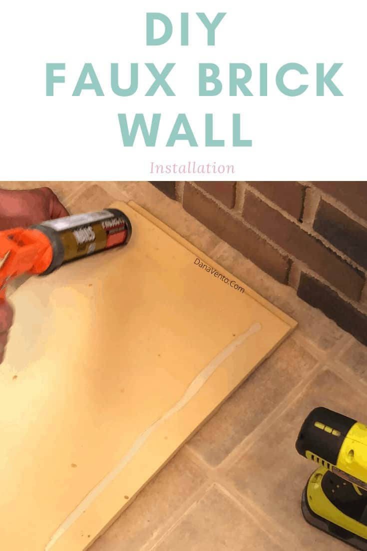 Rustic Brick Faux Wall being glued