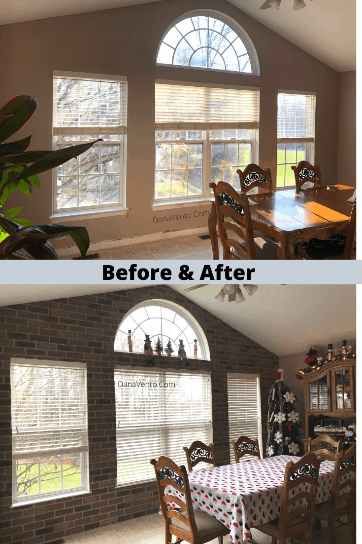 DIY Interlocking Rustic Brick Faux Wall Installation before and after