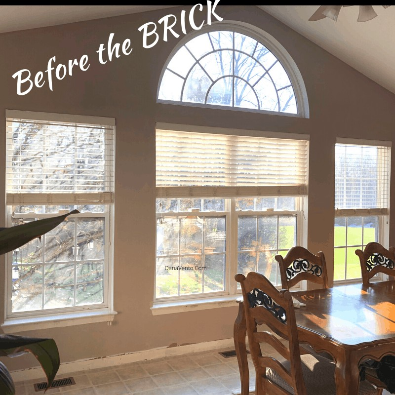 Before and after faux brick wall