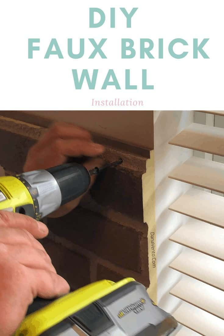 DIY Faux Brick Wall Installation screwing to the wall