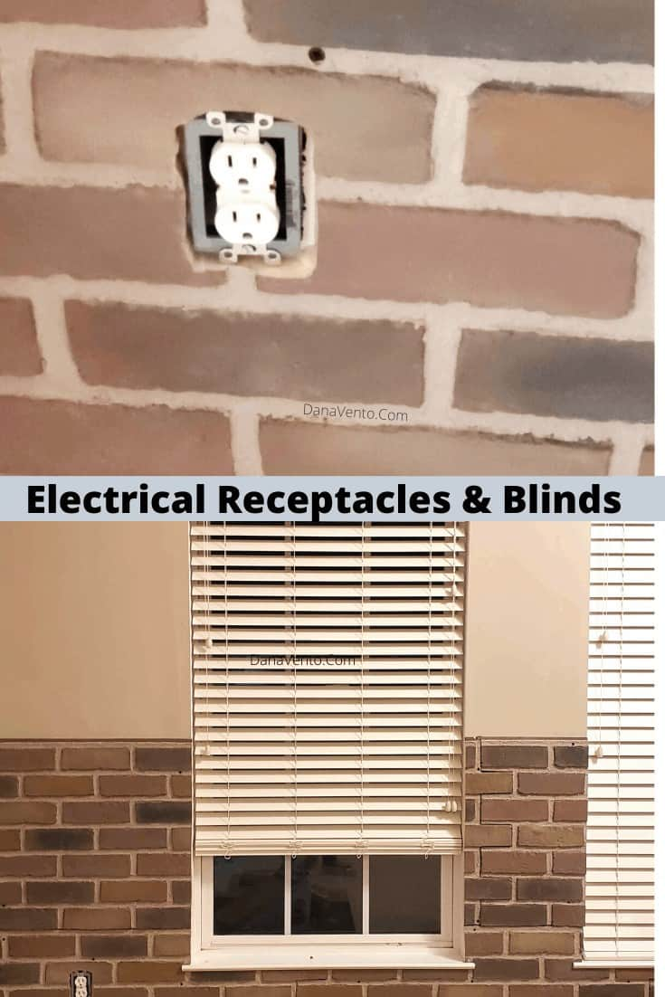 electrical sockets set in wall of faux brick wall