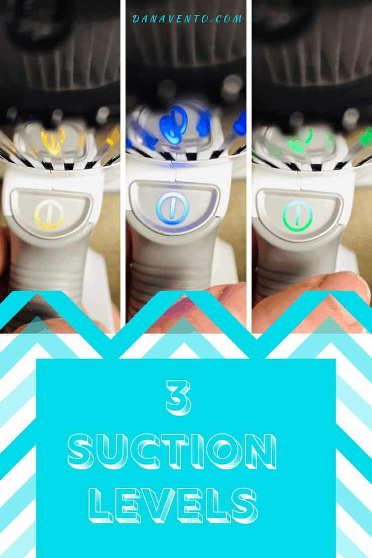 3 suction modes on Omni Power UV+ Cordless Vacuum