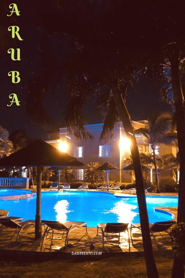Divi village golf and beach Aruba Resort pool by night