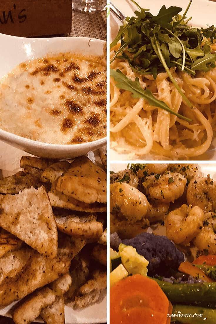 Mulligan's mega menu includes fabulous options. Artichoke Dip, shrimp, Pasta