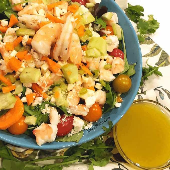 shrimp feta salad in bowl