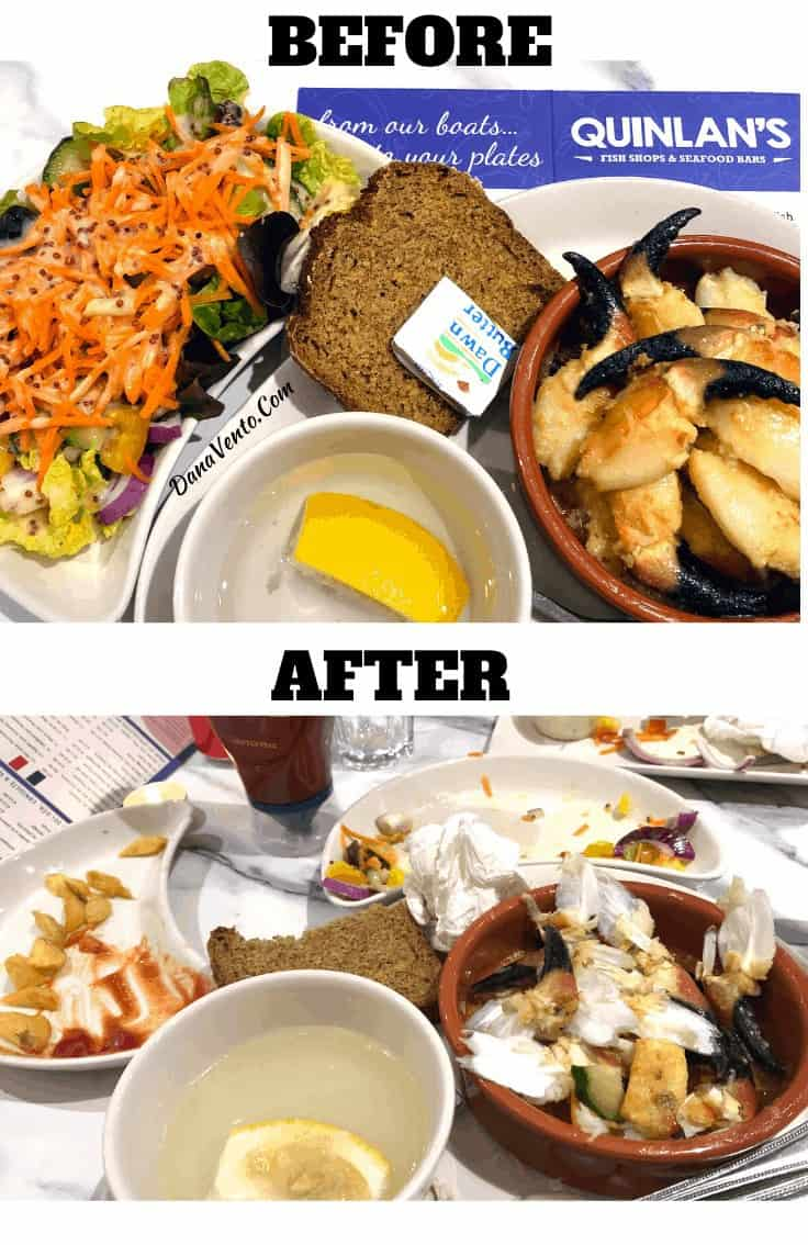 before and after eating at Quinlan's Seafood Bar Killarney